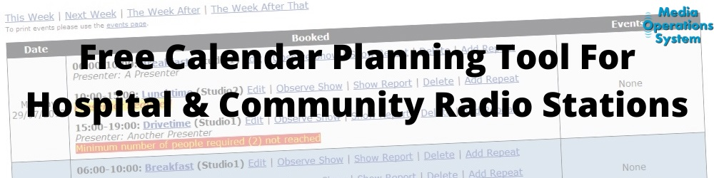 Free calendar planning tool for hospital and community radio statios